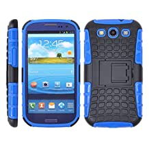 JKase DIABLO Series Tough Rugged Dual Layer Protection Case Cover with Build in Stand for Samsung Galaxy S3 III S 3 i9300 (Blue)