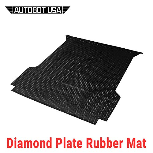 (Autobotusa Black Finished Rubber Diamond Floor Mat Carpet 1988-2000 for Chevy C10 C/K 1500/2500 / 3500 Fleetside 6.5 Ft Short Truck Bed)