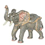 Minihouse Elephant Treasured Trinket Jewelry Ring Box Necklace Container Crystal Jeweled Collectible Gifts for Lovers (Grey)