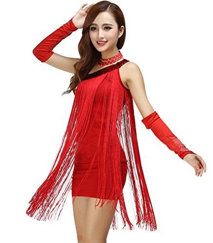 Vestido Color Sólido Flecos Ropa Vestidos Rojo Danza Mujer Danza Slim Lentejuelas Disfraz Latina qxYIFz
