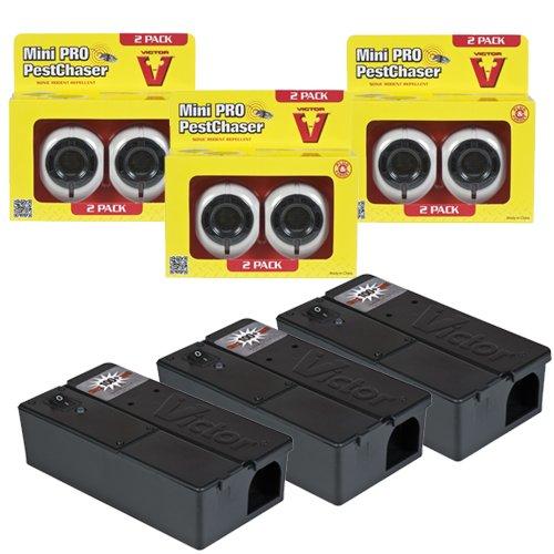 Victor BMOUSE4EU Effiziente Mäusebekämpfung mit dem Set 3x Sonic Mini Pestchaser und 3x Elektro-Mausefalle