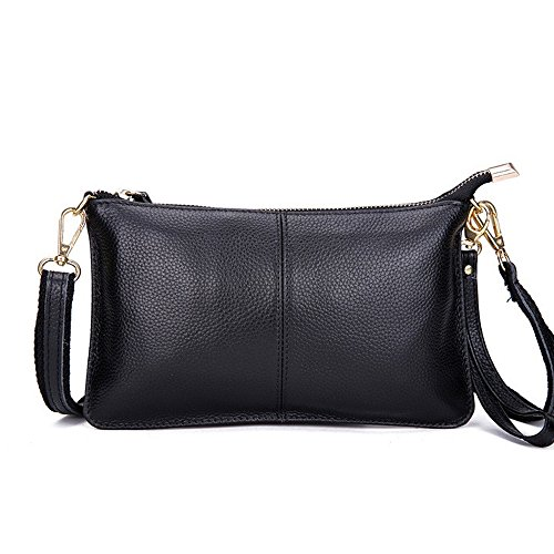 Artwell Women Genuine Leather Clutch Handbag Fashion Wristlet Purse Envelop Crossbody Shoulder Bag with Removable Long Strap for Party Wedding Shopping (Black) (Black Leather Evening Bag)