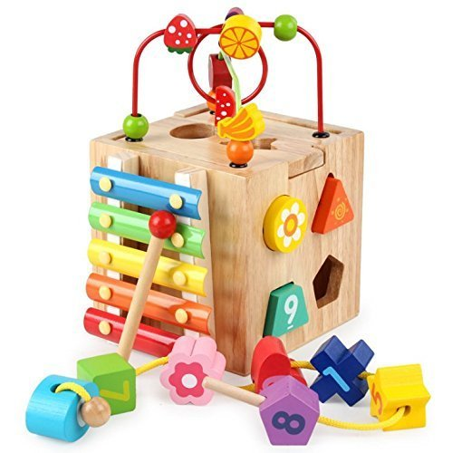 Revanak Activity Cube, Learning Cube, 6 in 1 Multipurpose Wooden Activity Cube Bead Maze Toy for Baby's & (1 Learning Activity Cube)