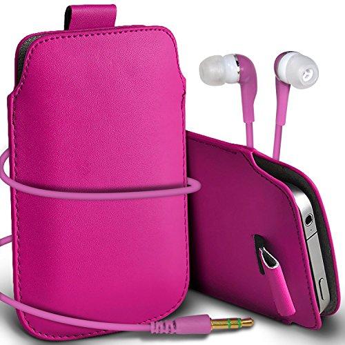 N4U Online - Apple Iphone 5S Prime de protection PU cuir Pull Tab cordon glisser la peau Pouch Pocket Housse & Matching casque 3,5 mm écouteurs écouteurs - Rose Chaud