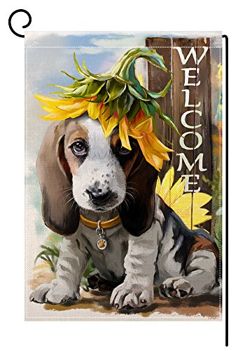 Flag Welcome Large - BLKWHT Welcome Dog Garden Flag Vertical Double Sided Yard Decorative 12.5 x 18 Inch