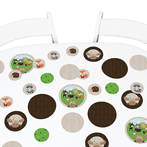 Big Dot of Happiness Woodland Creatures - Baby Shower or Birthday Party Giant Circle Confetti - Party Decorations - Large Confetti 27 Count (Game Table Woodland)