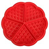 SODIAL(R) Family Silicone Waffle Mold Maker Pan Microwave Baking Cookie Cake Muffin Bakeware Cooking Tools Kitchen Accessories Supplies£¨red£©17.5cm