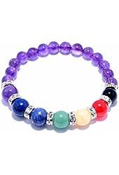 Natural Amethyst Gem Beads, maxin 8MM Semi-Precious stones Bracelet (10mm beads of Amethyst,Lapis Lazuli,Sodalite,Green Aventurine,Yellow Quartzite,Red Quartzite,Black Agate;8mm beads of Amethyst)