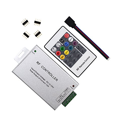 HUALAND 20 Key RF Remote Wireless RGB LED Light Controller Aluminum Case DC 12-24V, 12A SMD 5050 3528 LED Strip