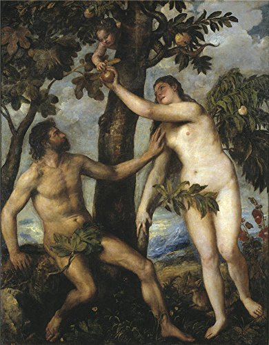'Titian [Vecellio Di Gregorio Tiziano] Adam And Eve Ca. 1550 ' Oil Painting, 24 X 31 Inch / 61 X 78 Cm ,printed On Polyster Canvas ,this Vivid Art Decorative (Adam Eve Costume Make)