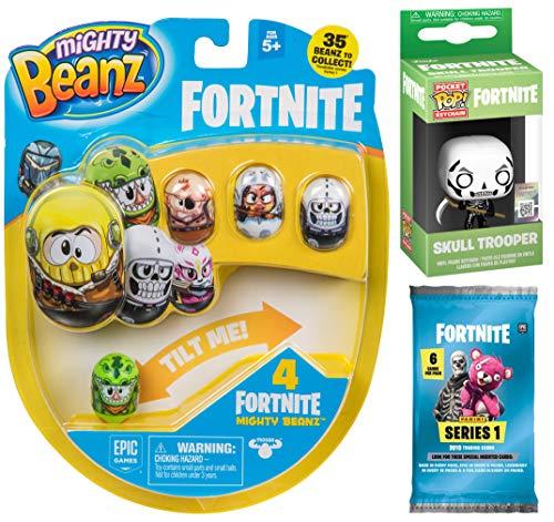 (Fortnite Roll Battle Victory Runs Bone deep Gamer Series Skull Trooper Mini Figure Backpack Hanger Pop! Keychain Bundled Trading Cards Pack & Mighty Flip Bean Gear 3 Items)