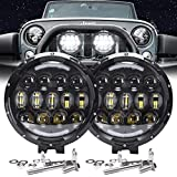 AUDEXEN LED Work Lights, 7 Inch 105W Round Spot LED Pods Light Bar High/Low Beam DRL with Adjustable Mounting Bracket…