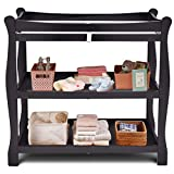 Costzon Baby Changing Table, Infant Diaper Changing Table Organization, Newborn Nursery Station with Pad, Sleigh Style Nursery Dresser Changing Table with Hamper/ 2 Fixed Shelves (Black)