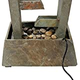 Sunnydaze Stacked Slate Freestanding Outdoor Water Fountain, 49 Inch Tall