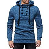 Big Promotion! Sweatshirt Mens,Caopixx Men's Casual Elastic Drawstring Button Down Hoodie Top Tee