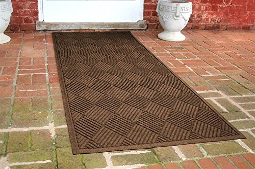 36 in. L x 100 in. W Dark Brown Waterguard Diamonds Mat by Bungalow Flooring