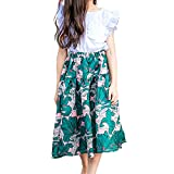 Multifit Girls Vintage Pleated Floral Printed Midi Skirt A Line Flower Print Skater Skirt(Green M)