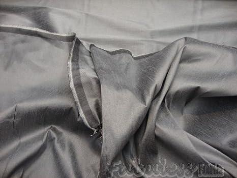 1 yard 100/% Silk Dupion Section Gray and silver Silk Dupioni Fabric Charcoal D148