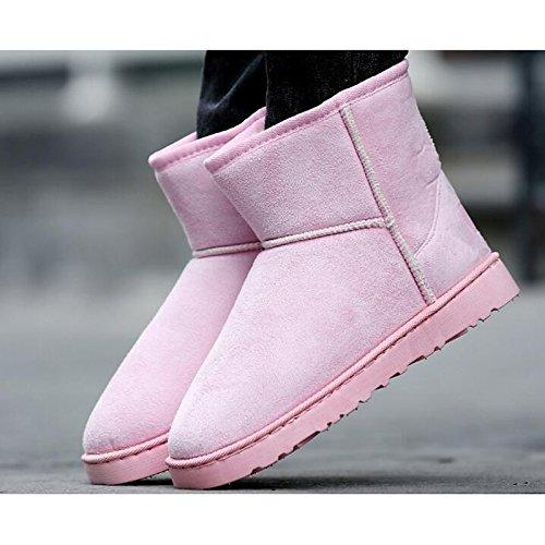nabuk cachi giallo rosa scarpe in per al stivali Yellow donna invernali polpaccio pelle da stivali marrone vino di casual stivali gomma ZHZNVX Hsxz fodera neve Fluff xSwqBT7RF