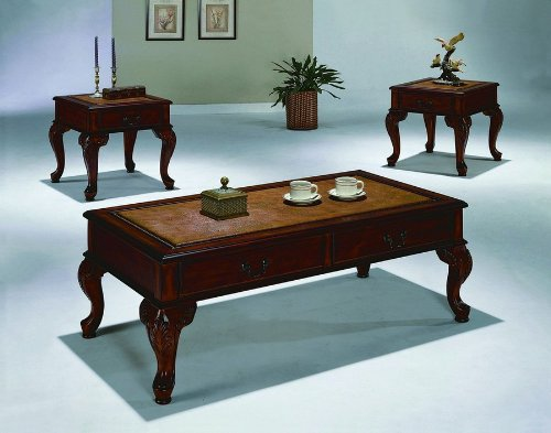 Queen Anne Style 3Pc Ocassional Table Set By Crown Mark Furniture