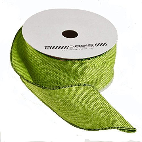 Apple Burlap Ribbon - FloristryWarehouse Hessian Ribbon Apple Green 2 inch Wide on 10 yd roll Jute Burlap