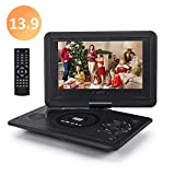 Chalpr 13.9'' Portable DVD Player for Kid, with Swivel Screen, Remote Control, Car Charger, Game Controller, Personal DVD Players with 5 Hour Rechargeable Battery