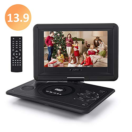Chalpr 13.9'' Portable DVD Player for Kid, with Swivel Screen, Remote Control, Car Charger, Game Controller, Personal DVD Players with 5 Hour Rechargeable Battery (Player Dvd Games)