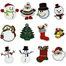 12 Pcs Christmas Day, Snow Man Assorted Size Iron On Patches Sew On Decoration Patch for DIY Jeans, Clothing, Handbag, Hats