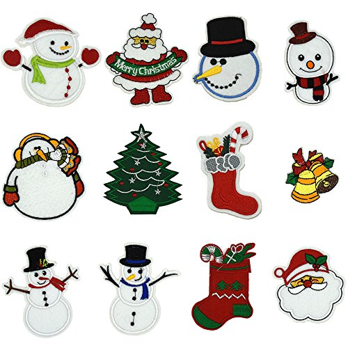 (Ewinsun 12 Pcs Christmas Day, Snow Man Assorted Size Iron On Patches Sew On Decoration Patch for DIY Jeans, Clothing, Handbag, Hats)