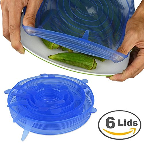 Silicone Stretch Lids, Kuke 6 Packs of Various Sizes Portable Reuseable Home Eco- Frinendly Stretch covers Expandable To Fit Various Shapes And Sizes To Keep Your Food Fresh And Tasty,Blue