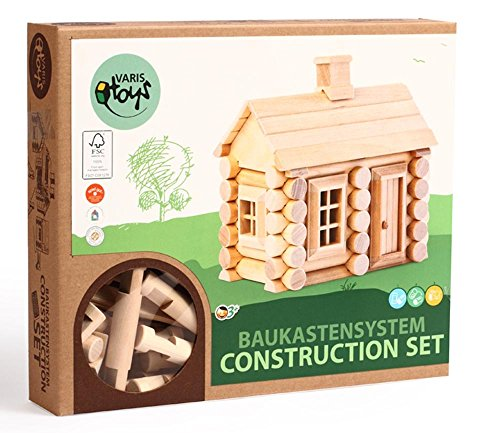 Varis 55 Piece Log Cabin - Traditional ALL Wooden Building Set with Windows & Door (Made in (Wood Log Cabin Tree House)