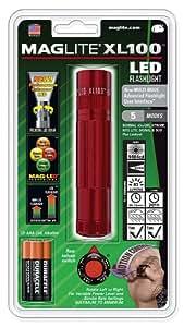 Mag-Lite XL100-S3036 - Linterna LED (83 lúmenes, 12 cm, 5 modalidades, control de movimiento e interruptor multifunción electrónico), color rojo