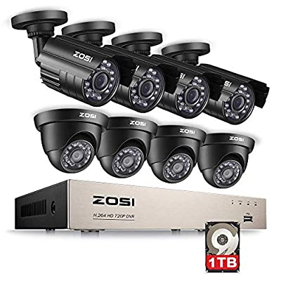 ZOSI 8CH HD 720P Video Security System 4 in 1 DVR with (4) HD 1.0MP Weatherproof Bullet Cameras and (4) 1280TVL Dome Cameras, Outdoor Indoor Surveillance Camera System, 1TB Hard Drive from Zosi