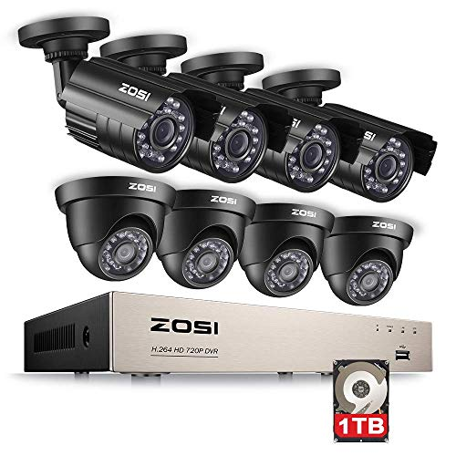 (ZOSI 8CH HD 720P Video Security System 4 in 1 DVR with (4) HD 1.0MP Weatherproof Bullet Cameras and (4) 1280TVL Dome Cameras, Outdoor Indoor Surveillance Camera System, 1TB Hard Drive)