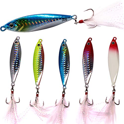SUPERTHEO Fishing Spoons Metal Hard Jigging Saltwater Freshwater Fishing Baits (Jigging Spoon Lure)