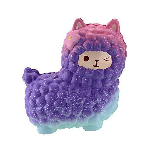 """VLAMPO Squishy Toys Alpaca 7.1"""", Jumbo Slow Rising Stress Relief Squishies Cream Scented Squeeze Funny Kids Toys Charms Kawaii Collection Toys for Kids Adults (Galaxy) -"""