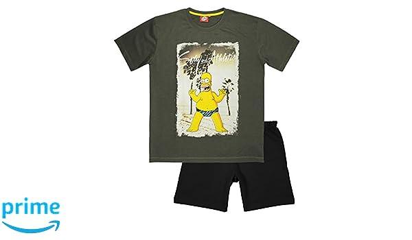 The Simpsons - Pijama - para Hombre Gris Gris Large: Amazon.es: Ropa y accesorios