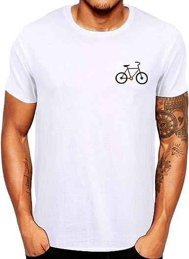 Camisetas para Hombre Manga Corta Camisetas Basicas Hombre Camiseta con Cuello Redondo para Hombre de Verano con Estampado de Bicicleta de Dibujos Animados: Amazon.es: Ropa y accesorios
