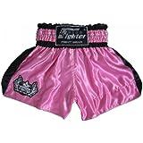 4Fighter Short de Muay Thai Classic rose-noir avec de 4fighter logo sur la jambe