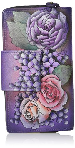 Women'S Organizer Painted Lilac Clutch Anuschka Leather Lush Hand Wallet 1ItFwWqAHx
