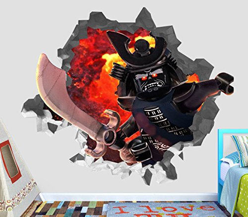 The Lego Ninjago Movie Lorde Garmadon 3D Wall Decal Sticker Vinyl Decor Door Window Poster Mural - Broken Wall - 3D Designs - OP22 (Small (Wide 22'' x 16'' Height)) by DecorLab
