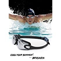 BRIGADA Cool Black Swimming Goggles for Men Women, Anti Fog UV Protective Water Goggles, No Leaking Wide View Mens Womens Swimming Goggles
