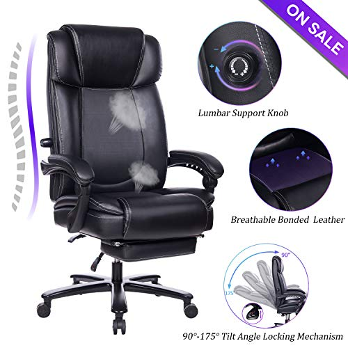VANBOW Big and Tall Reclining Leather Office Chair – High Back Executive Computer Desk Chair with Adjustable Built-in Lumbar Support, Angle Recline Locking System and Footrest, Black