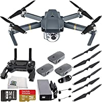 DJI Mavic Pro Quadcopter Drone w/ Manufacturer Accessories, 2 Extra Intelligent Flight Batteries, Sandisk 32GB microSDHC Memory Card, Microfiber Cleaning Cloth