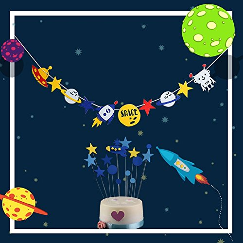 Outer Space Alien Banner and 15 pcs Rocket Star Cake Cupcake Toppers Cool Outer Space Rocket Party Decoration Set1 (Cool Rockets)
