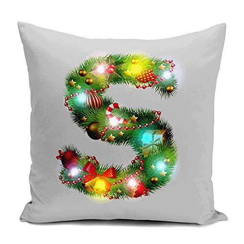 Pattern Flax Santa Pillow Pillowcase Pillow Alexsix Cases with LED Lights Snowflake Case Home Square S Alexis Christmas Decoration 07A7qnP
