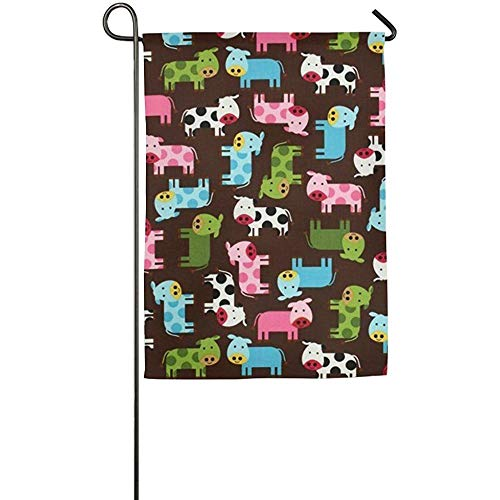 Dozili Garden Flag Mini Cow Milk Animal Winter Home Home Decoration Weather Resistant & Double Sided Flag 28