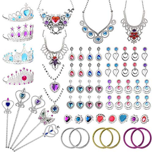 Balhvit 65 Pcs Princess Pretend Jewelry Toy, Girl's Jewelry Dress Up Play Set with Crowns, Necklaces, Earrings, Rings, Wands, Bracelets, Pretend Play Toddler Jewelry for Girls Birthday Party Favors