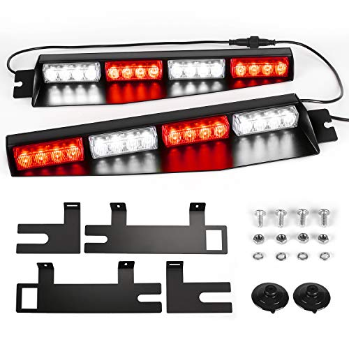 ASPL 32LED Visor Lights 26 Flash Patterns Windshield Emergency Hazard Warning Strobe Beacon Split Mount Deck Dash Lamp With Extend Bracket (Red/White/Red/White)