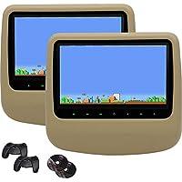 EinCar Beige Twin Screen Car DVD Player 9 Digital Display Screen Headrest Monitor Built-in Speaker/IR/FM Transmitter Support USB/SD HDMI input 32 Bits Games Remote Control(Black/Grey/Beige optional)